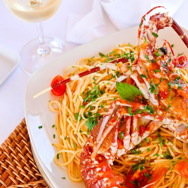 Lobster spaghetti seafood dish at Almyra Fish & Sushi Restaurant, close to Rethymno & Chania.