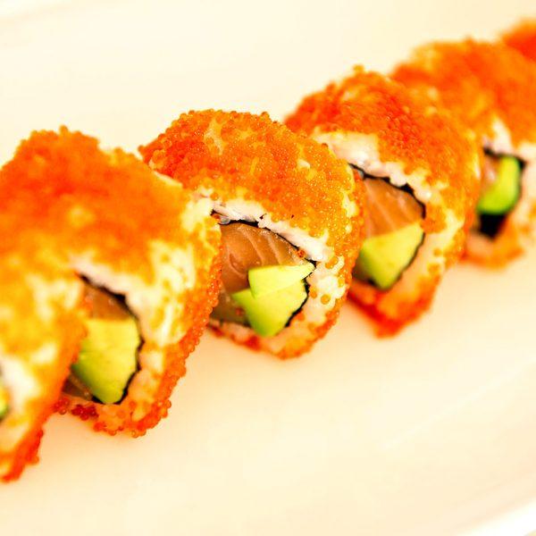 The Almyra Restaurant near Rethymno & Chania specialises in sushi food, like salmon sushi rolls