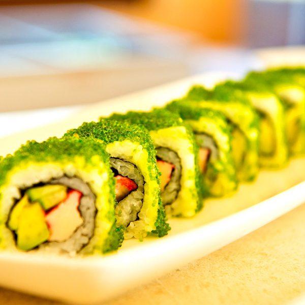 Sushi food served at the Almyra Sushi restaurant near Rethymno & Chania includes avocado maki rolls
