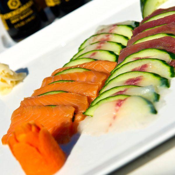 A sashimi combo dish with sake & maguro at the Almyra Sushi Restaurant close to Rethymno & Chania